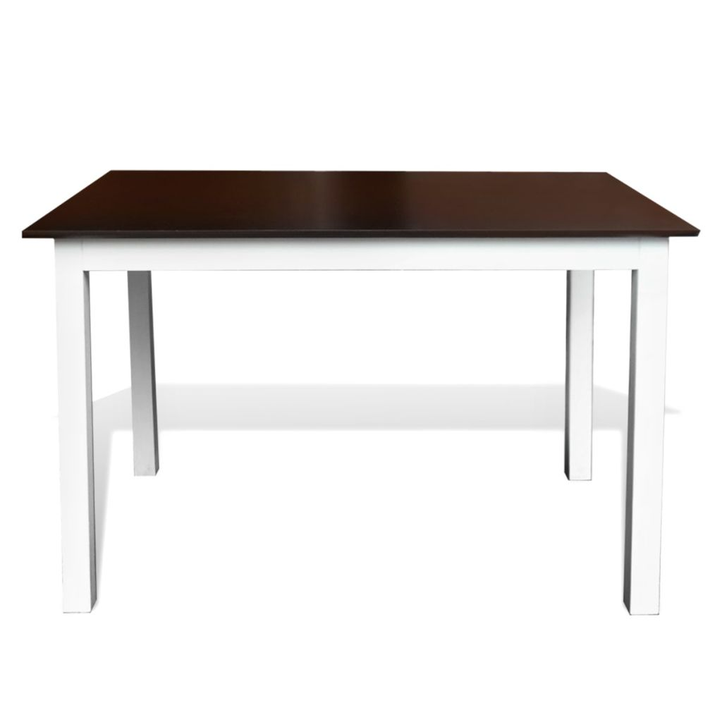 Dining Table 110 cm Solid Wood Brown and White 2