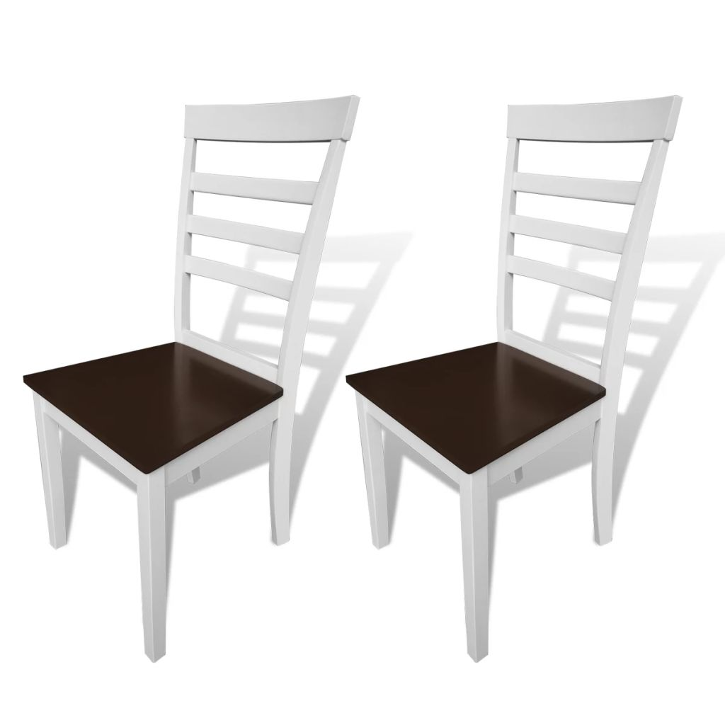 Dining Chairs 2 pcs White and Brown Solid Wood and MDF 1