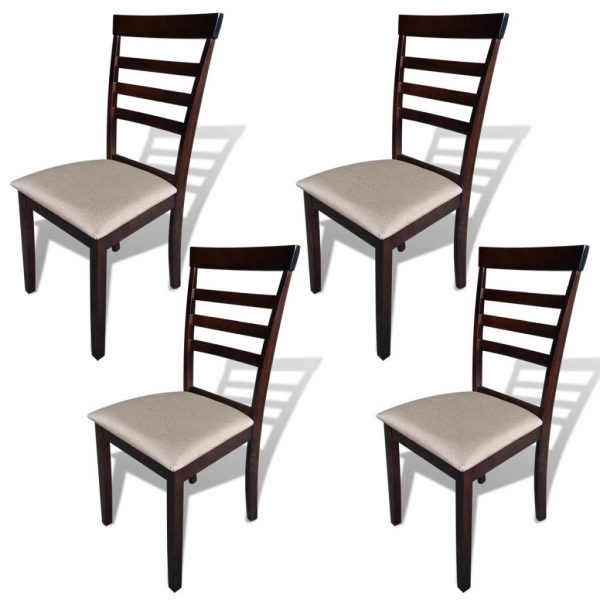 Dining Chairs 4 pcs Brown and Cream Solid Wood and Fabric 1