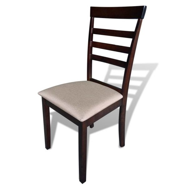 Dining Chairs 4 pcs Brown and Cream Solid Wood and Fabric 2