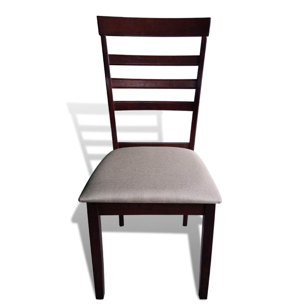 Dining Chairs 4 pcs Brown and Cream Solid Wood and Fabric 3