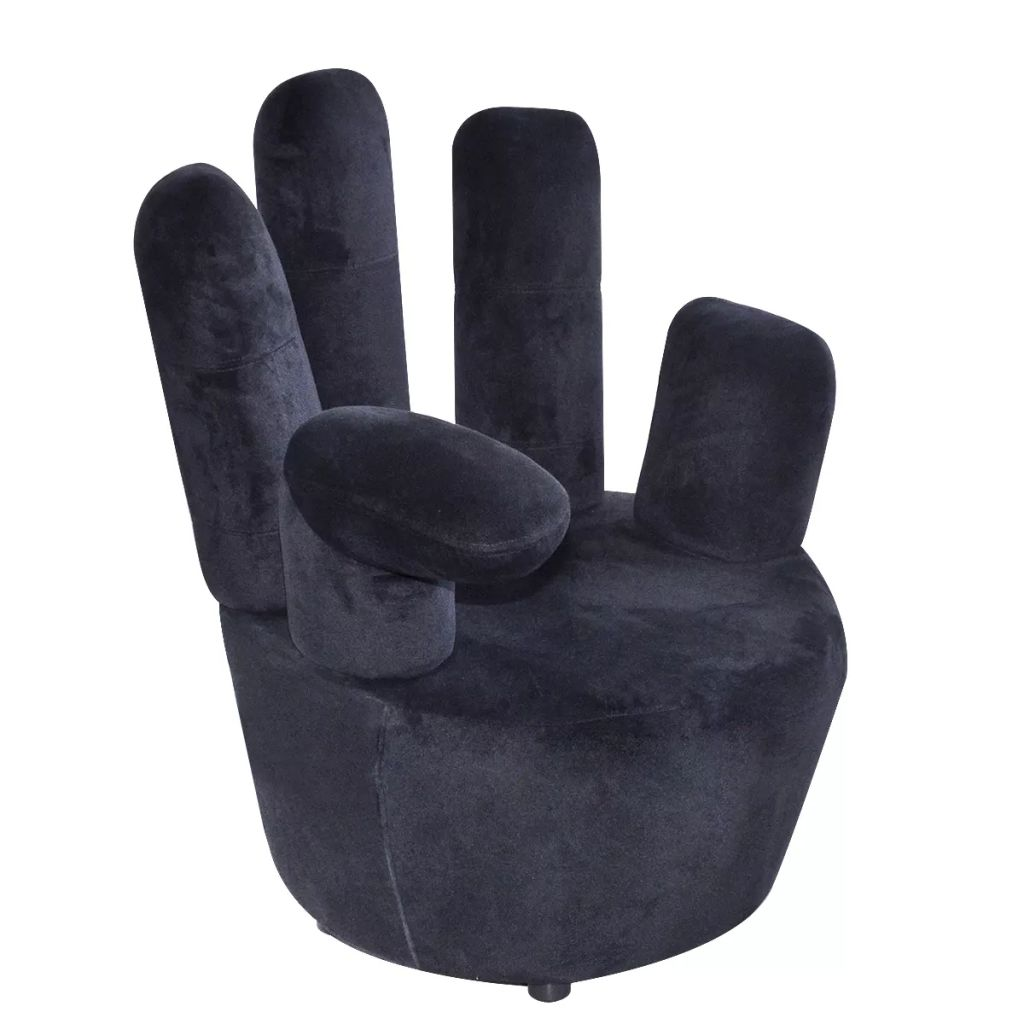Chair Hand-shaped Black Velvet 1