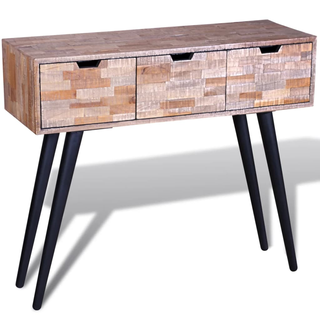 Console Table with 3 Drawers Reclaimed Teak Wood 1