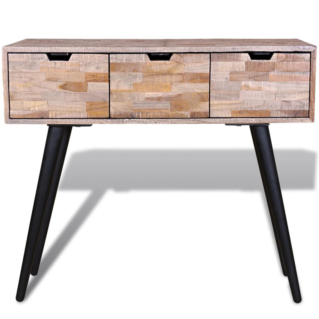Console Table with 3 Drawers Reclaimed Teak Wood 2