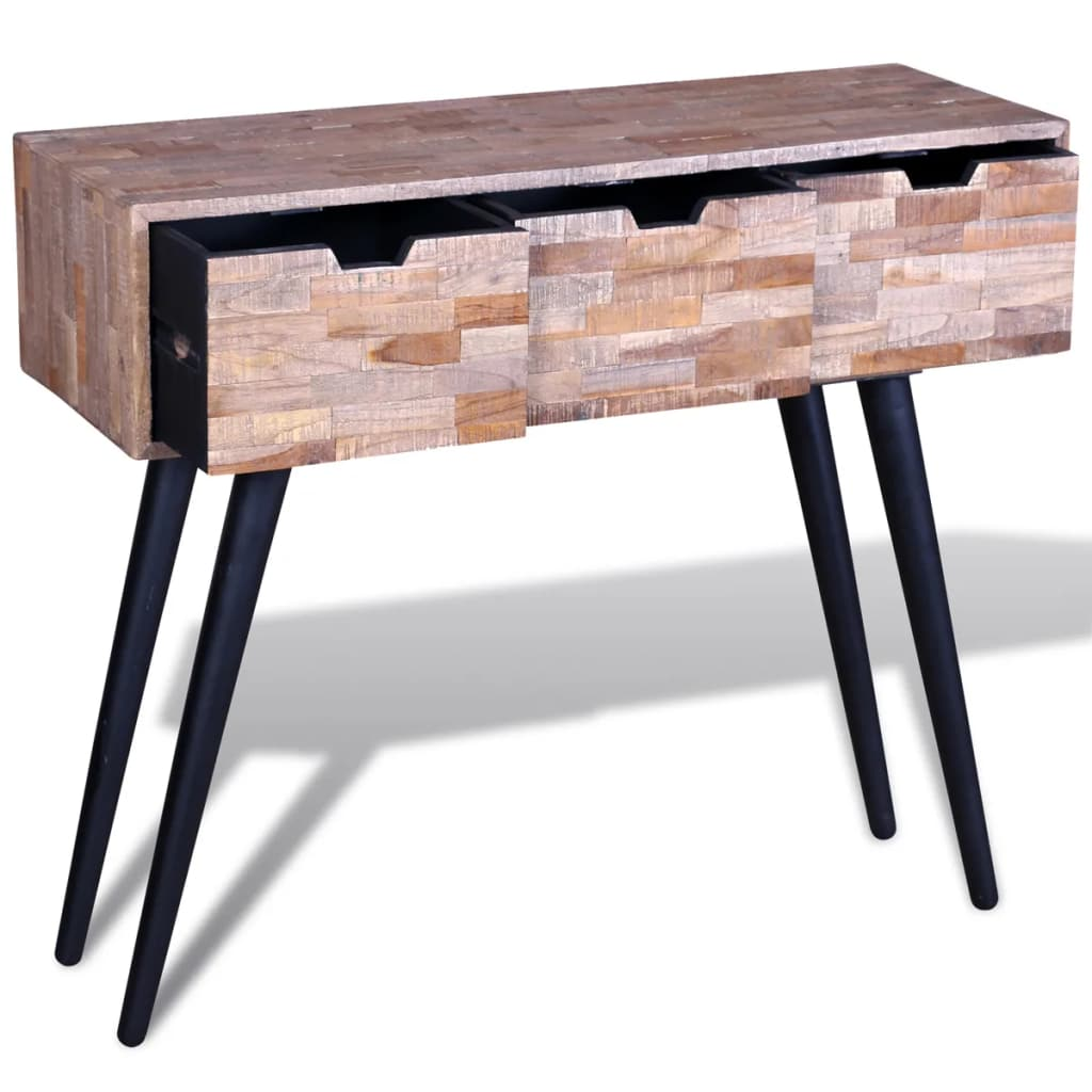 Console Table with 3 Drawers Reclaimed Teak Wood 3