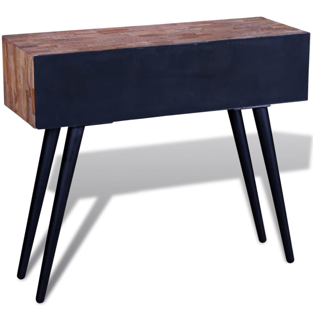 Console Table with 3 Drawers Reclaimed Teak Wood 4