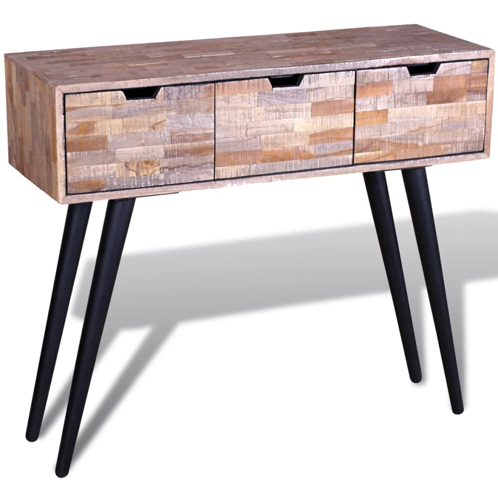 Console Table with 3 Drawers Reclaimed Teak Wood 5