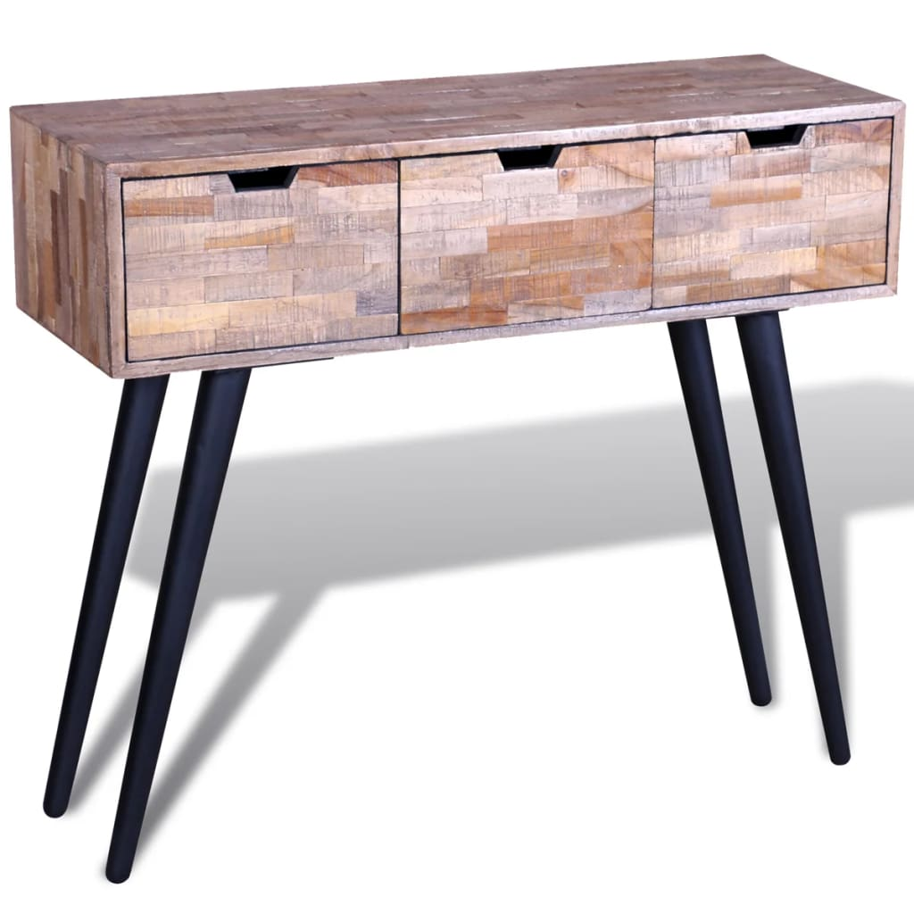 Console Table with 3 Drawers Reclaimed Teak Wood 6