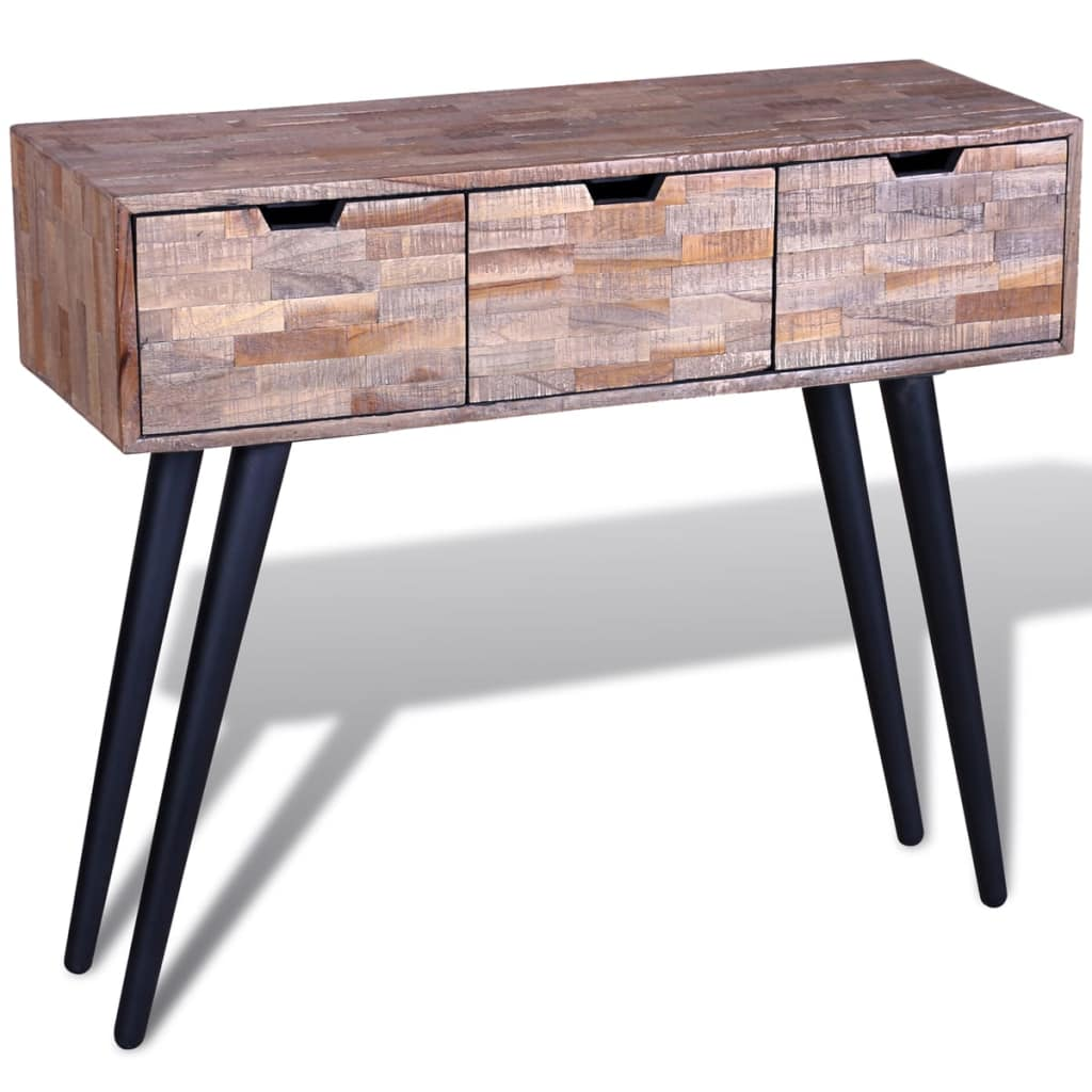 Console Table with 3 Drawers Reclaimed Teak Wood 7