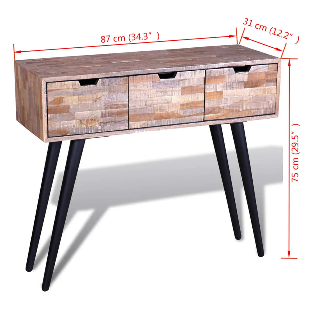 Console Table with 3 Drawers Reclaimed Teak Wood 9