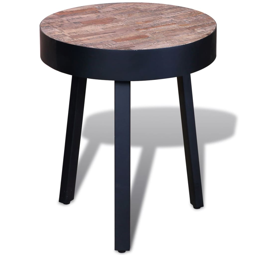 End Table Round Reclaimed Teak Wood