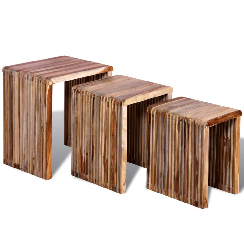 Nesting Table Set 3 Pieces Reclaimed Teak 1