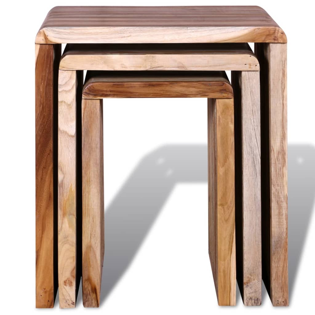 Nesting Table Set 3 Pieces Reclaimed Teak 7