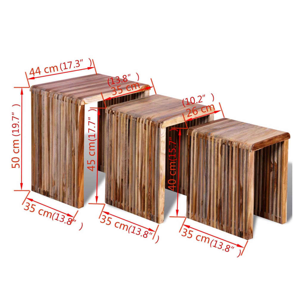 Nesting Table Set 3 Pieces Reclaimed Teak 8