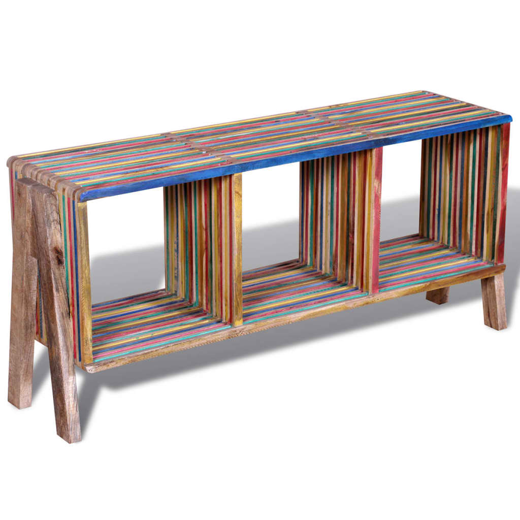 TV Cabinet with 3 Shelves Stackable Reclaimed Teak Colourful 4