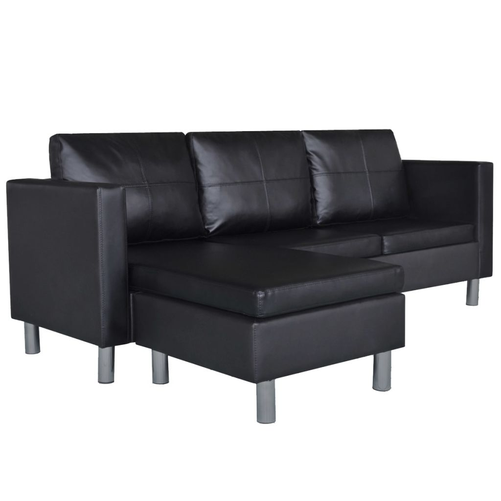 Sectional Sofa 3-Seater Artificial Leather Black 2