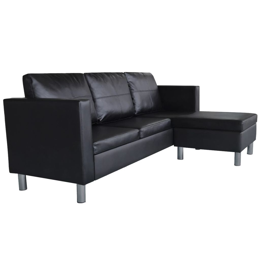 Sectional Sofa 3-Seater Artificial Leather Black 4