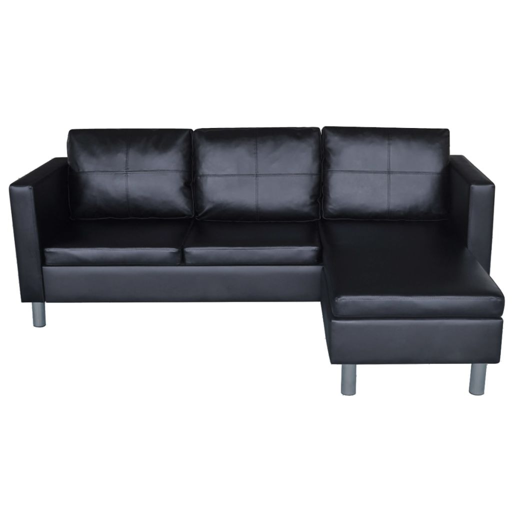 Sectional Sofa 3-Seater Artificial Leather Black 5