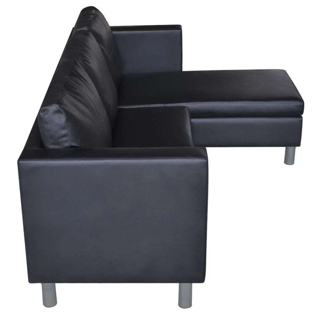 Sectional Sofa 3-Seater Artificial Leather Black 6