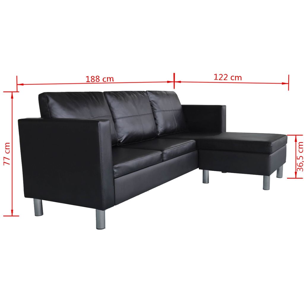 Sectional Sofa 3-Seater Artificial Leather Black 9