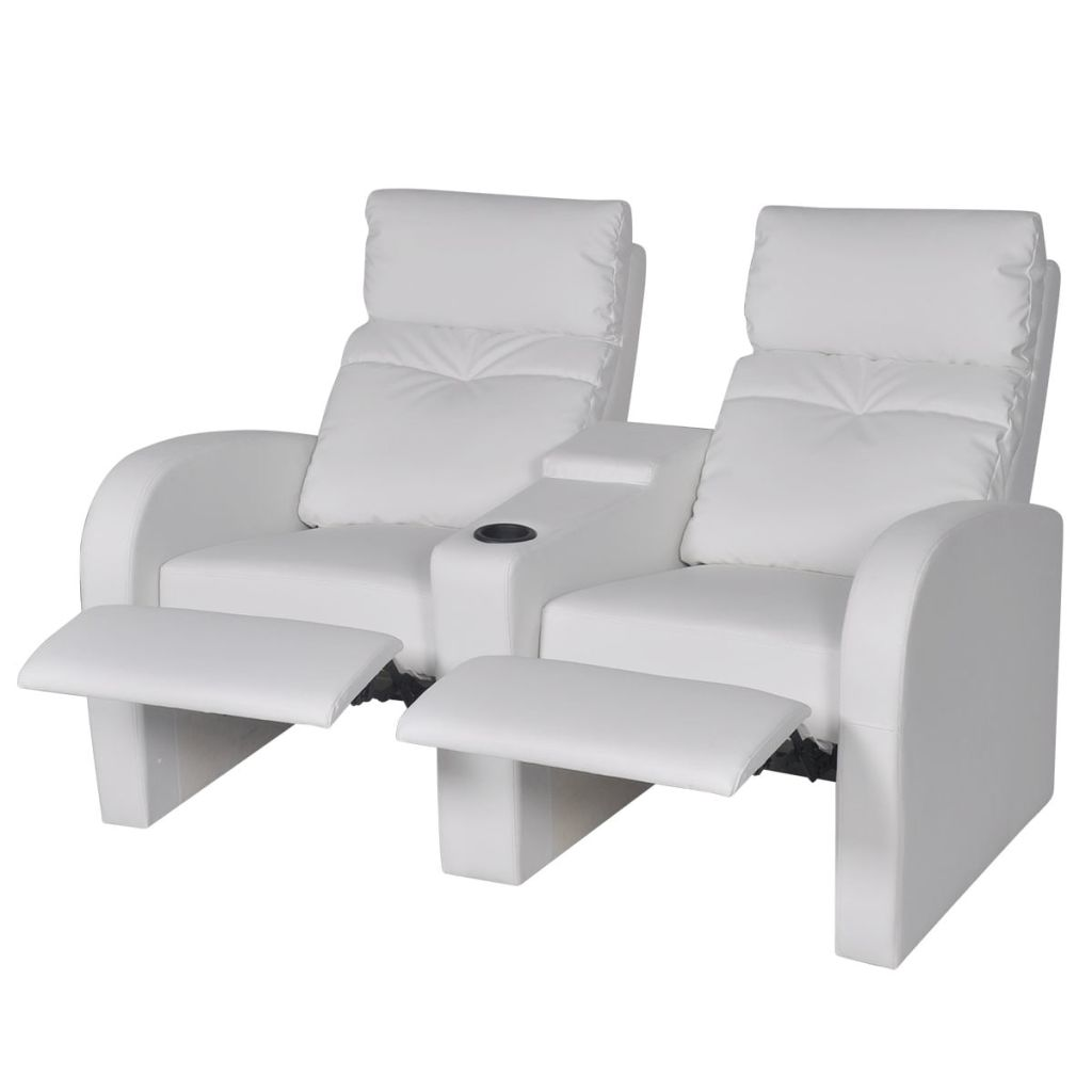 Recliner 2-seat Artificial Leather White 3