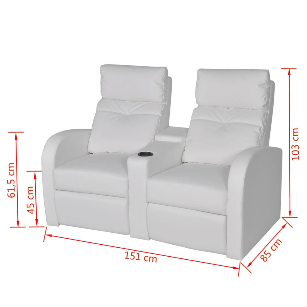 Recliner 2-seat Artificial Leather White 8