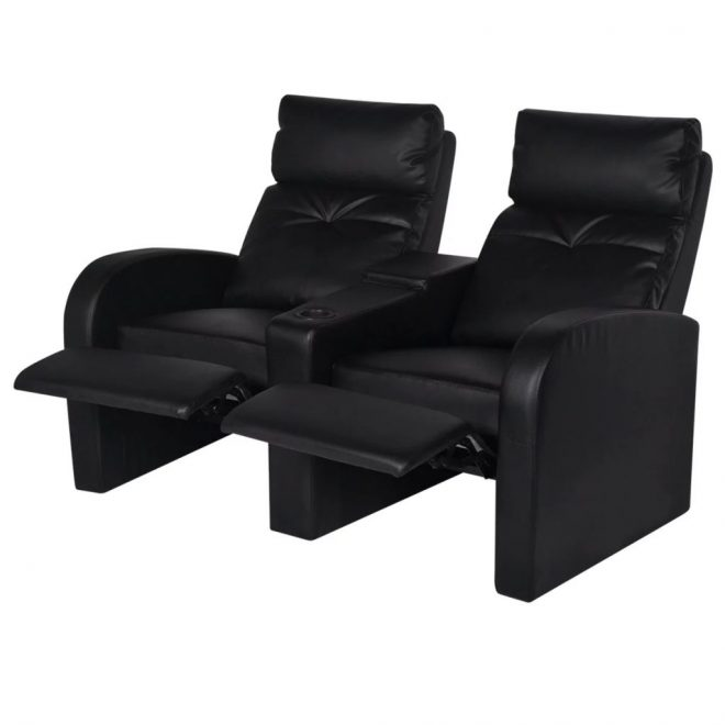 Recliner 2-seat Artificial Leather Black 3