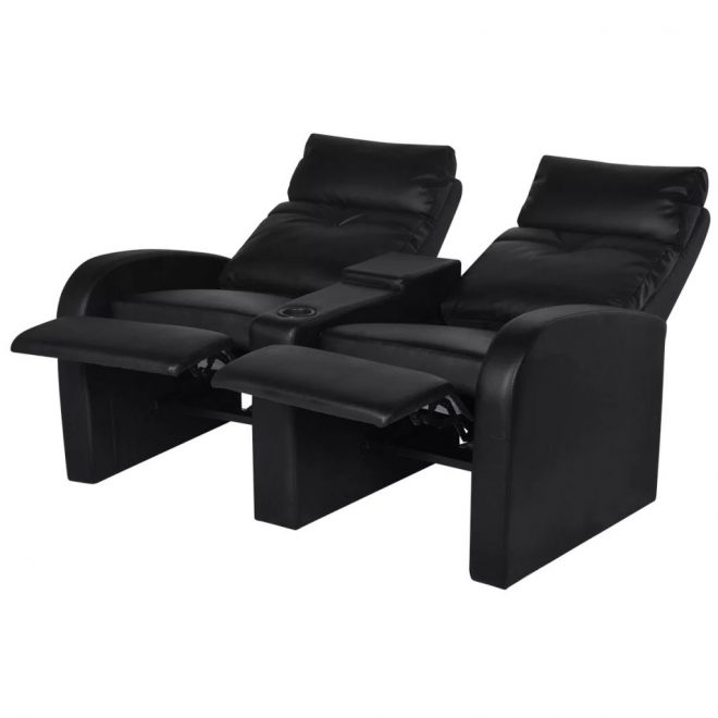 Recliner 2-seat Artificial Leather Black 4