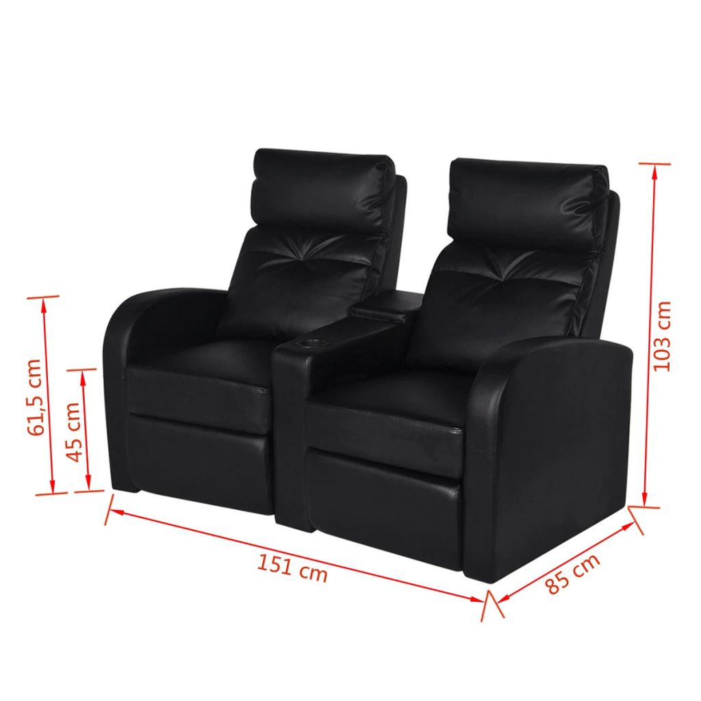 Recliner 2-seat Artificial Leather Black 7
