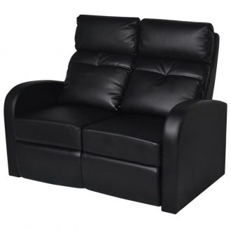 Recliner 2-seat Artificial Leather Black 1