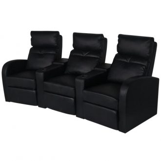 Recliner 3-seat Artificial Leather Black 1