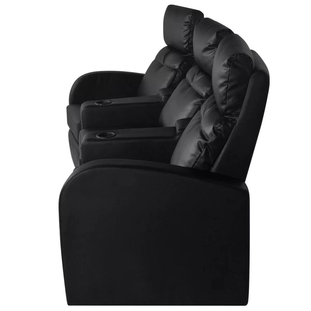 Recliner 3-seat Artificial Leather Black 4