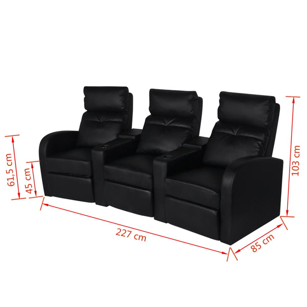 Recliner 3-seat Artificial Leather Black 6