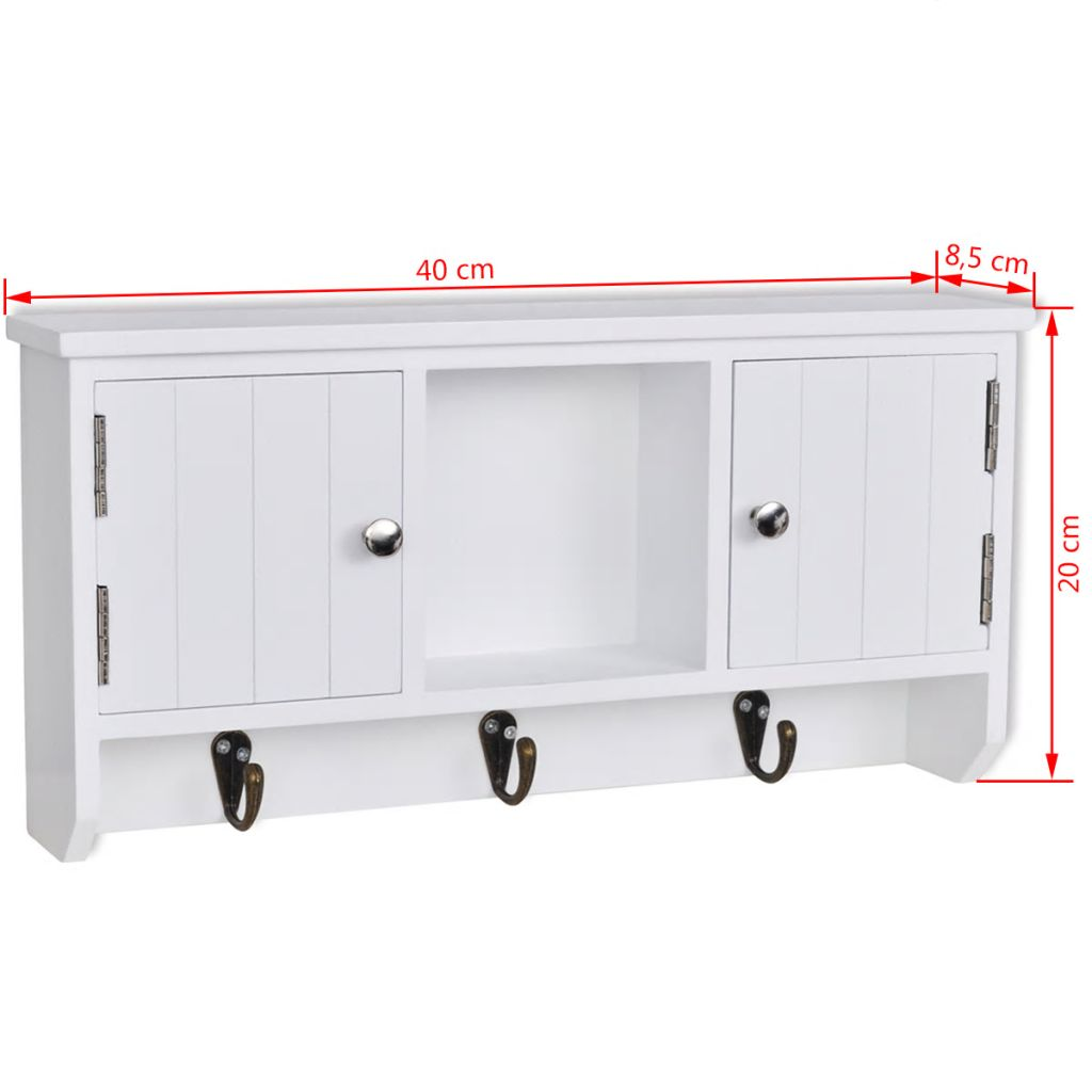 Wall Cabinet for Keys and Jewelery with Doors and Hooks 8