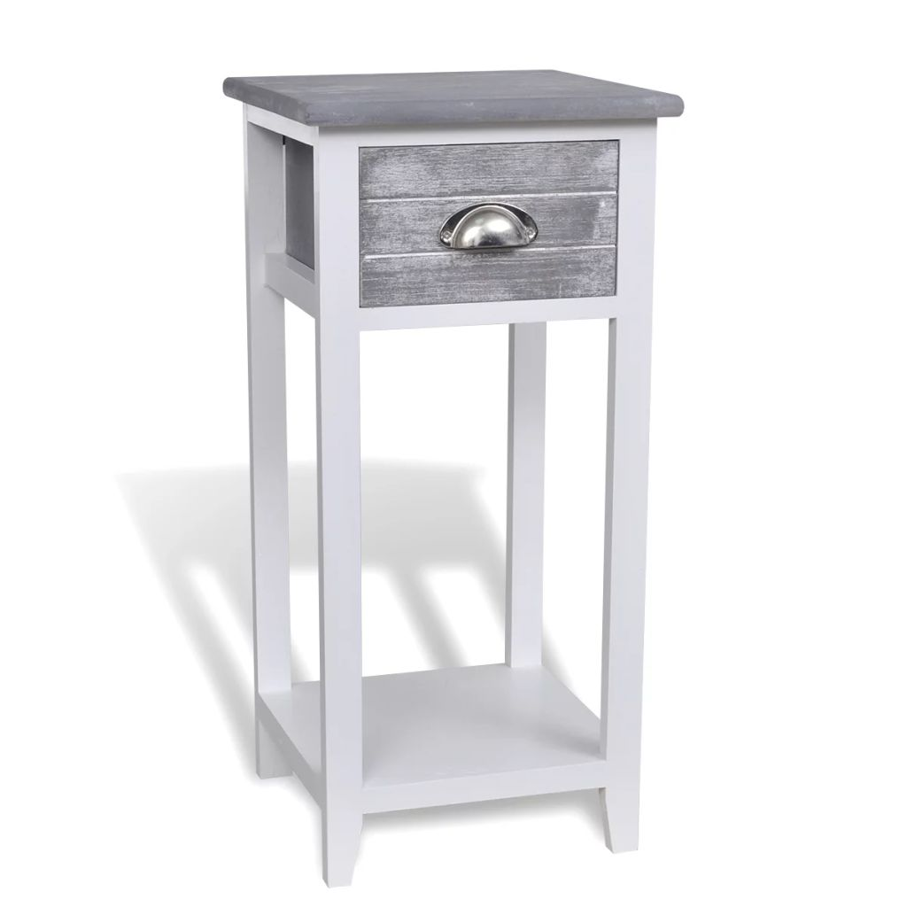 Nightstand with 1 Drawer Grey and White 2
