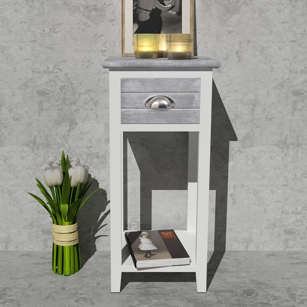 Nightstand with 1 Drawer Grey and White 3