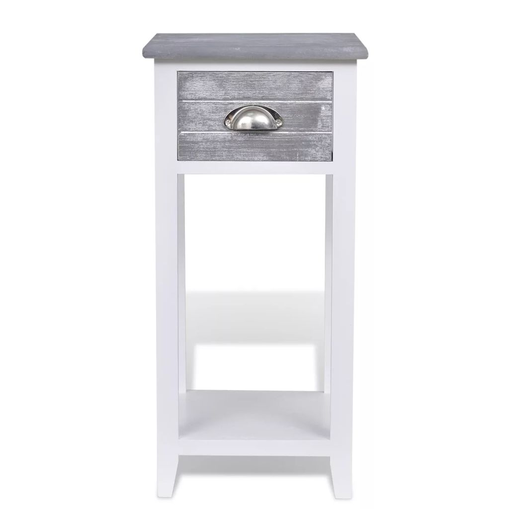 Nightstand with 1 Drawer Grey and White 5