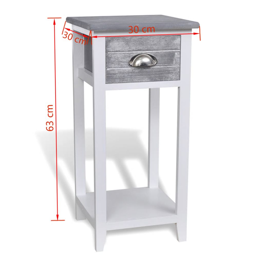 Nightstand with 1 Drawer Grey and White 6