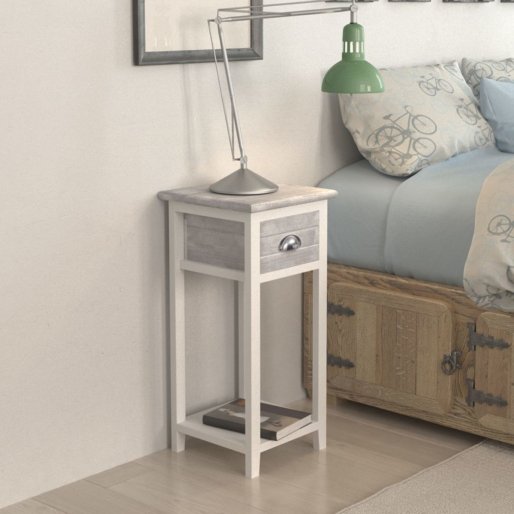 Nightstand with 1 Drawer Grey and White 1