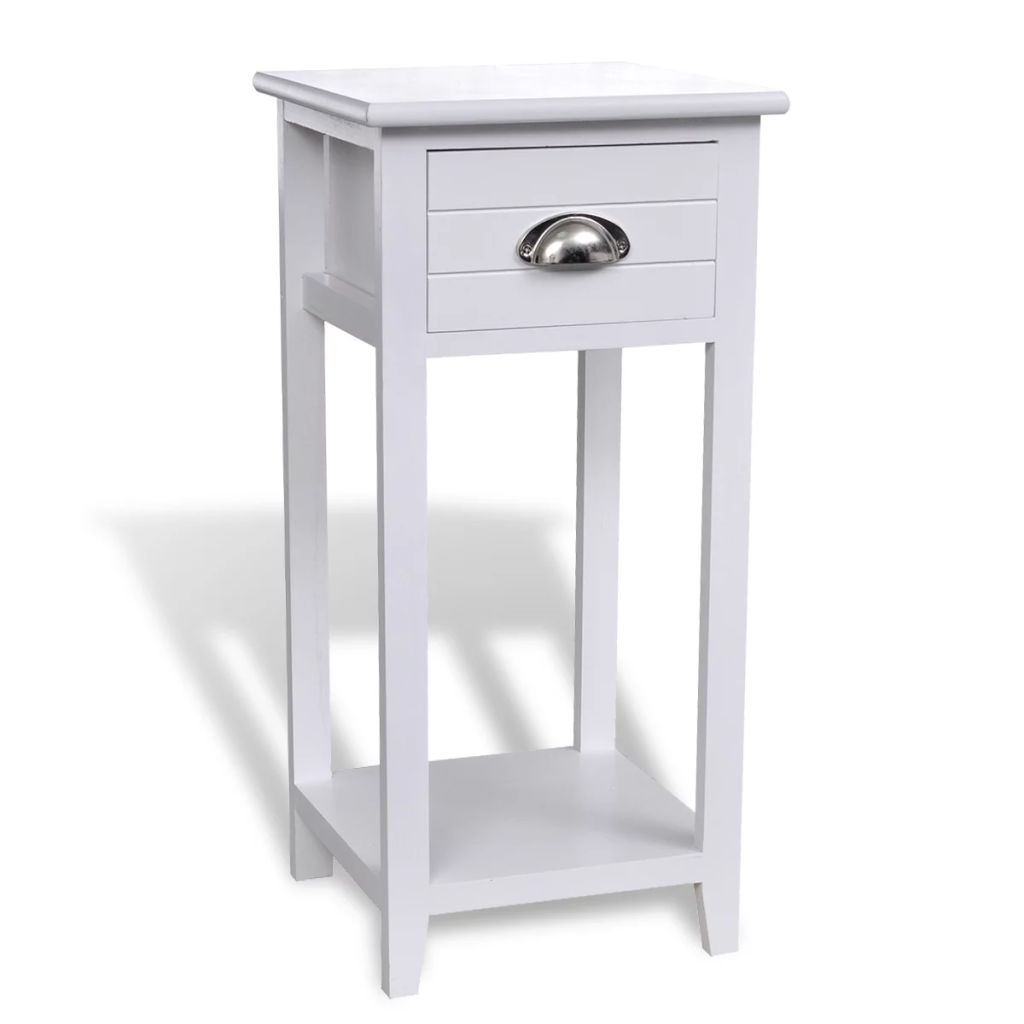 Nightstand with 1 Drawer White 2