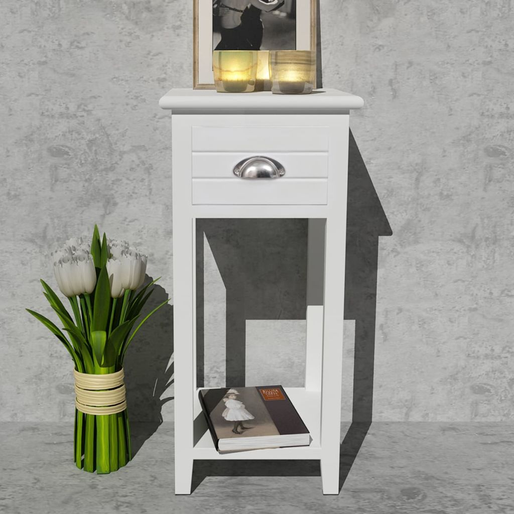 Nightstand with 1 Drawer White 3