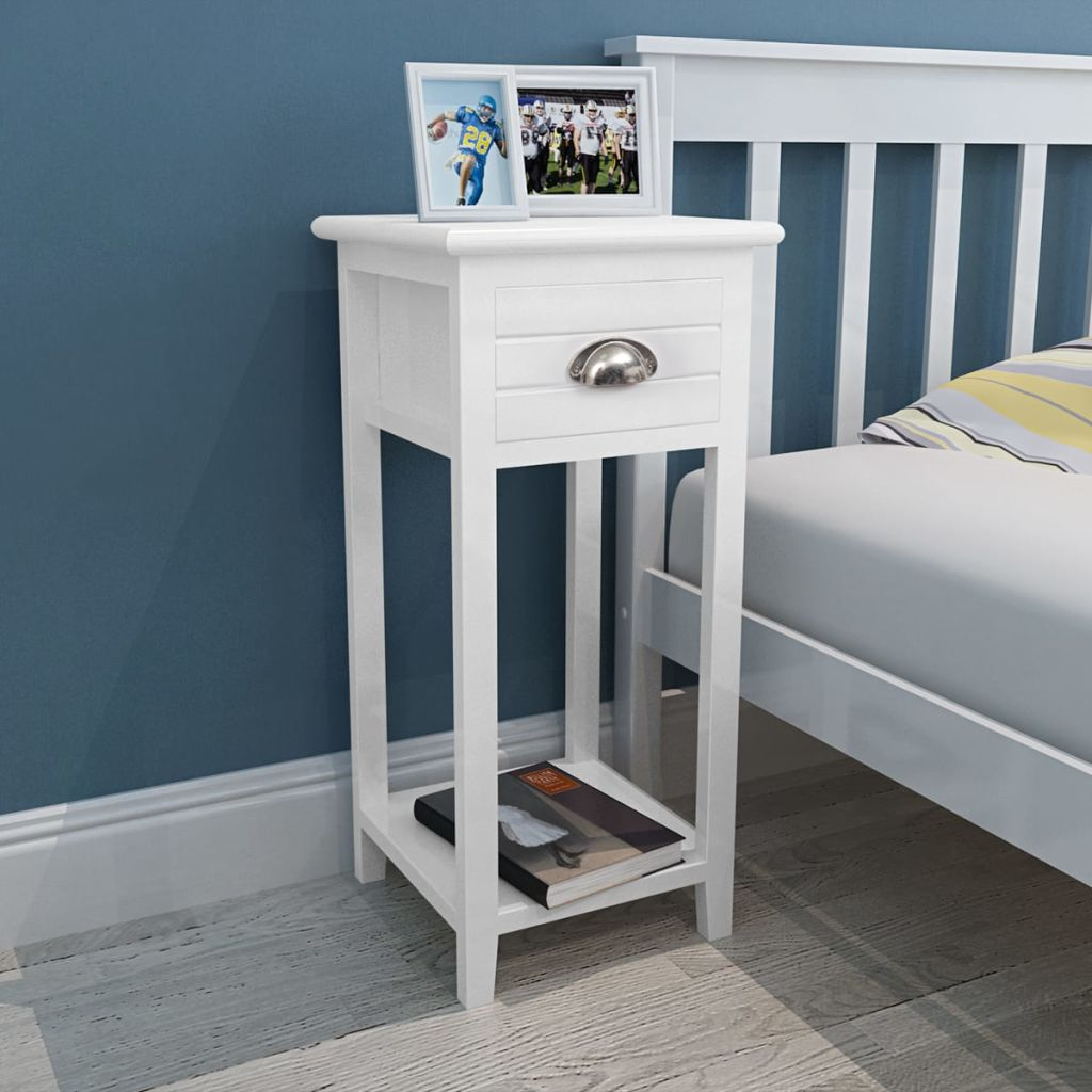 Nightstand with 1 Drawer White 4