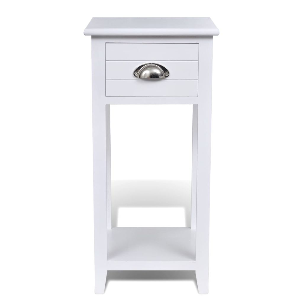 Nightstand with 1 Drawer White 6