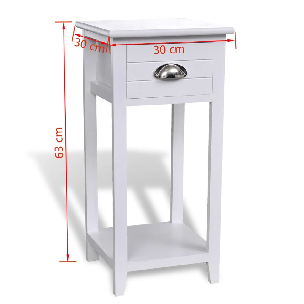 Nightstand with 1 Drawer White 7