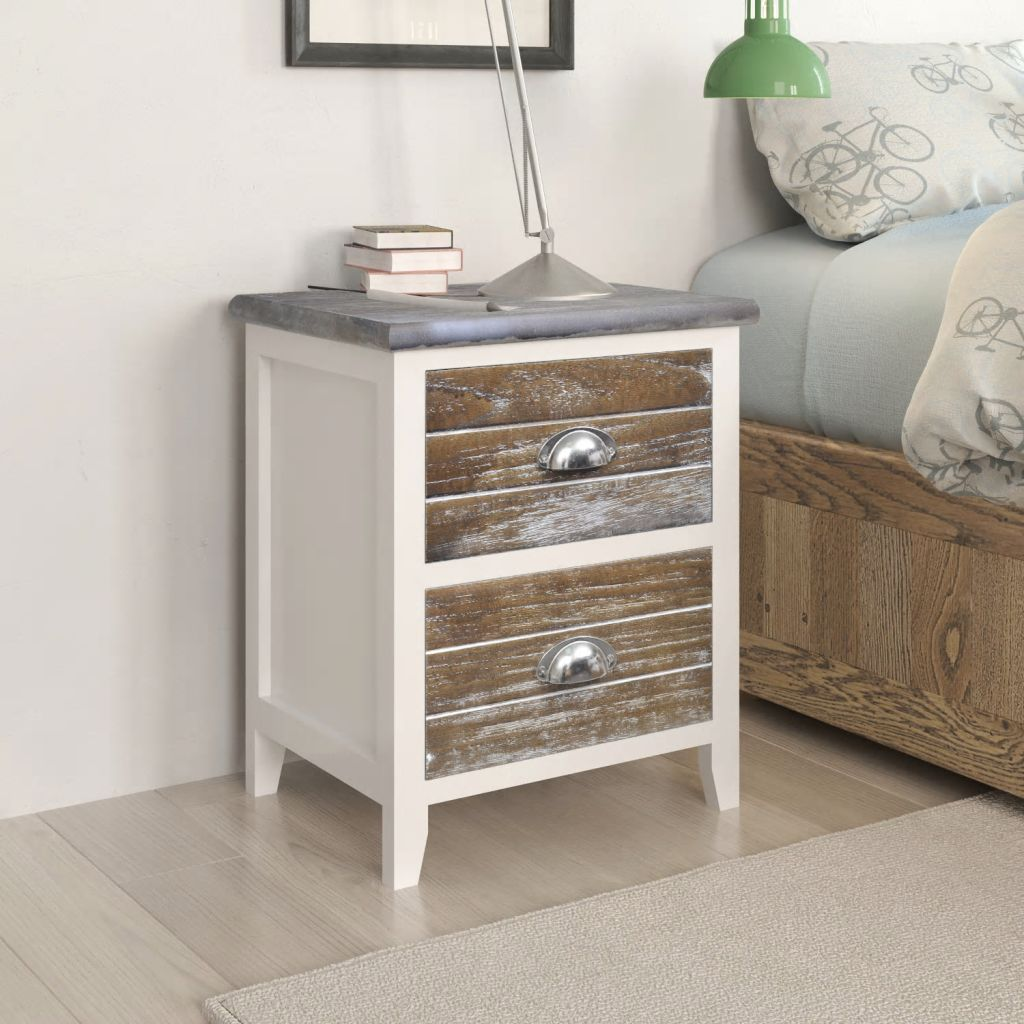 Nightstand 2 pcs with 2 Drawers Brown and White
