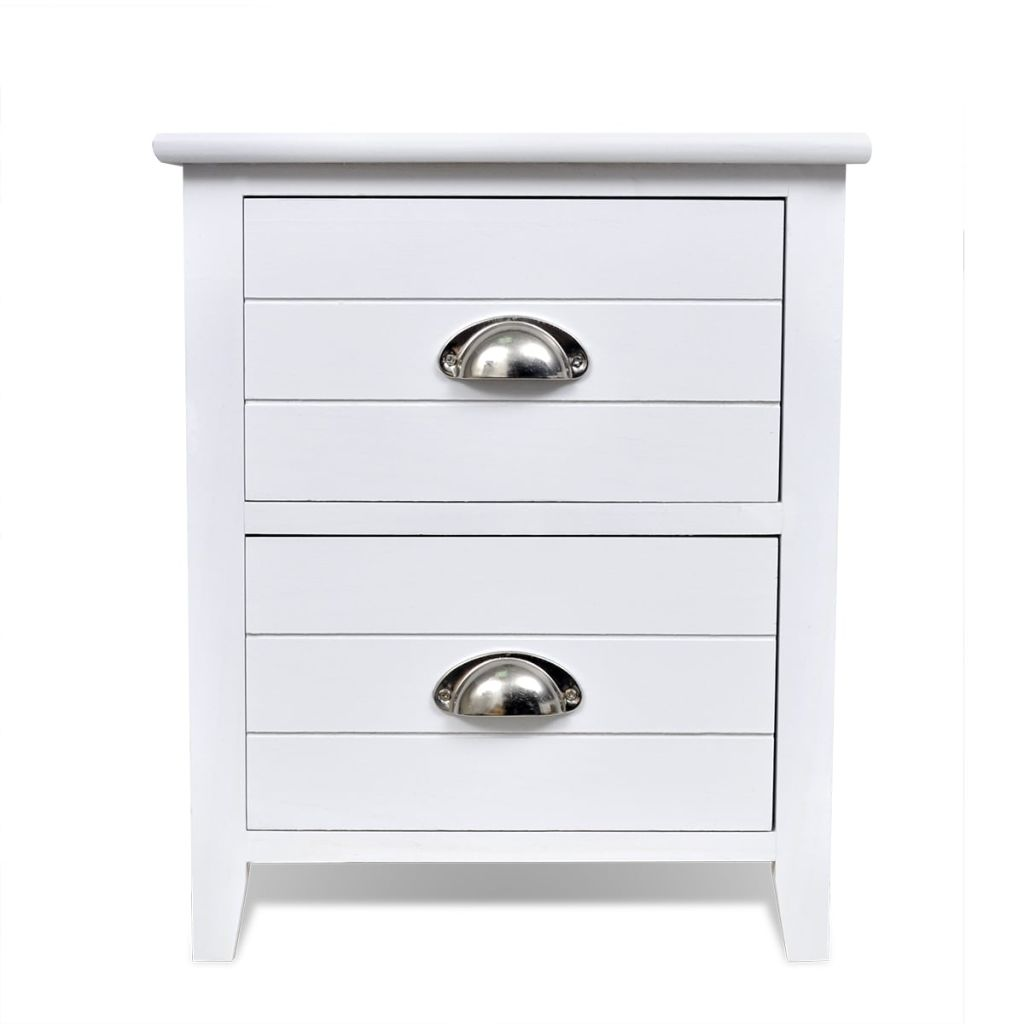 Nightstand 2 pcs with 2 Drawers White 6