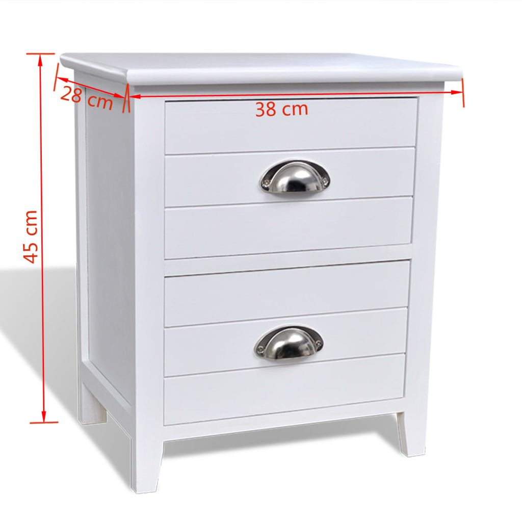 Nightstand 2 pcs with 2 Drawers White 7