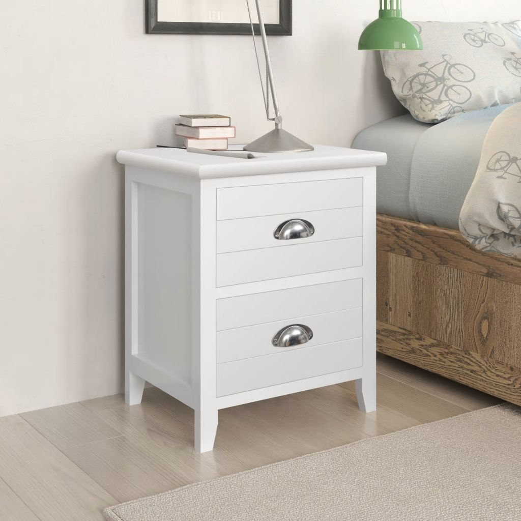 Nightstand 2 pcs with 2 Drawers White 1