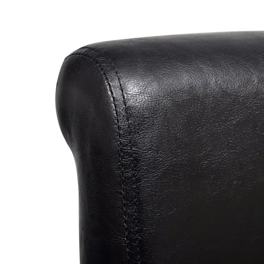 Dining Chairs 6 pcs Black Faux Leather 4