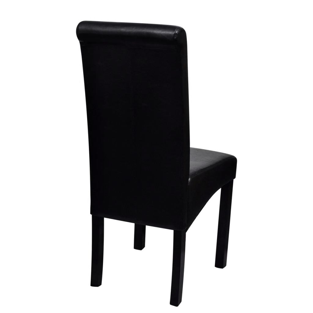 Dining Chairs 6 pcs Black Faux Leather 5
